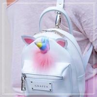 Wholesale Bags Handbags Fashion Colorful Style - Korean Style PU Unicorn Backpack Cartoon Colorful Unicorn Shoulder Bag Kids Rainbow Unicorn School Bag Teenager Handbag CCA8171 3pcs