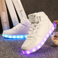 Wholesale Top Quality Led Grow Lights - Quality 7 Colors Kids LED Shoes 2017 Autumn Winter High Top Children Growing Sneakers For Boys Girls Luminous Lights Shoes Solid