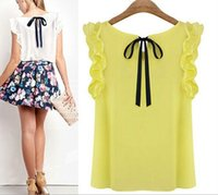 Wholesale Cheapest Blouses - Cheapest Shirt Women S-XL New Women's O Neck Lotus Leaf Pullover Lace Bow Chiffon Shirt Tops Summer Female Blouse Plus Size