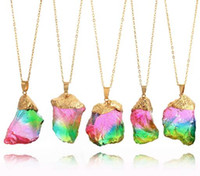 Wholesale Quartz Stone Pendant - JLN Rough Natural Stone Multi Color Classic Style Pendant Necklace Irregular Druzy Crystal Quartz Necklace Gift For Women