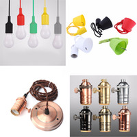 Wholesale brass lamp holders for sale - Group buy E27 Holder Edison Vintage Retro Lamp Base holde European and American style Bases Colorful Silicone Lamp Holder