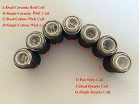 reemplazo de la sartén de cera al por mayor-MOQ es 10pcs bobinas de sartén quemador de cera bobina de cuarzo dual bobinas de cerámica sartén atomizador cabeza de reemplazo de la bobina para sartén vaporizador cartomizer