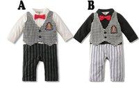 Wholesale Serving Pieces - 2015 European and American style children's striped vest boys gentleman Romper climb serving piece garment factory wholesale A071928