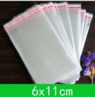 Wholesale cellophane bags wholesale - New Cellophane Bag (6x11cm) with self-adhesive seal opp bag  poly bag for wholesale + free shipping double