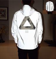 Wholesale Reflective Silver - Men jacket casual hiphop windbreaker 3m reflective jacket tide brand men and women lovers sport coat hooded fluorescent clothing