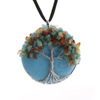 Wholesale Wire Wrap Gemstone - Charms Womens Fashion Turquoise Round Pendant Wire Wrap Tree of Life Natural Gemstone Leather Necklace Jewelry