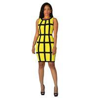 37e94fa76898e Femmes Robe D'été 2017 Moulantes Sundresses Vert Jaune Robe Sexy Club Plaid  Bandage Dress Casual Robes Robes De Fête Courte q1110