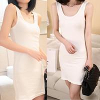 Wholesale Long Black Tank Top Dress - Wholesale-New Fashion Cotton Long Dress Tank Sleeveless Tops Women Beach Blouses Vest Shirt 2016 T1