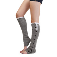 Wholesale Wholesale Black Shank Button - Wholesale-Chic Women Girls Lace Acrylic Button Down Winter Leg Warmers Above Knee Boot Covers Shank Socks