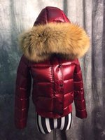 Wholesale Glossy Down - Hot women winter jackets duck down coats anorak glossy parka Female Clothes real raccoon fur collar hood Luxury Brand mon short jacket
