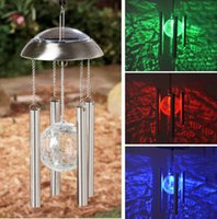 Wholesale yard glasses - Wholesale-Fashion Solar Powered Color Changing Glass Ball LED Light Copper Hanging Wind Chime Light Garden Yard Decor
