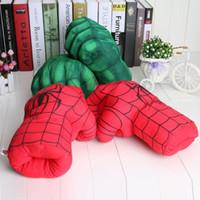 Wholesale plush spiderman online - the avengers hulk gloves plush toy man spiderman gloves incredible hulk smash gloves performance props hulk smash hands plush gloves Cosplay