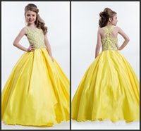 Wholesale Number Hunter - Crystals Pageant Gowns Kids Sleeveless Strapless Zipper Back Beadings Happy Pretty Girls Wear Number One Fashion Design Bling Prom