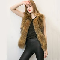 Wholesale Leather Mink Coats Women - Fashion Women's Shaggy Mink Fur Vest Coat Sleeveless V-Neck Black Brown Slim Coats Jackets Faux Leather Panel Winter Jacket Outwear CJF0908