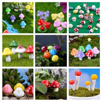 Wholesale Mushroom Garden Decor - Artificial colorful mini Mushroom fairy garden miniatures gnome moss terrarium decor plastic crafts bonsai home decor for DIY Zakka 100pcs