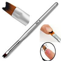 resim sanatı için araçlar toptan satış-Nail Art Resim Fırça Huş Akrilik UV Jel Lehçe Çizim fransız İpuçları Manikür Kalem Fırça Tasarım DIY Araçları Yüksek Seviye Naylon 1 ADET # 8