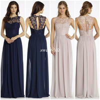 Wholesale Cheap Long Backless Dresses - New Design Lace Bridesmaid Dresses Long Navy Blue Chiffon Backless Sheer Bateau Neck 2016 Cheap Summer Beach Maid of Honor Dress Party Gowns