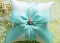 Wholesale Decorated Pillows - Square Rhinestone Big Bow Satin Ring Pillows Decorated With Lace Ring Holders Wedding Ring Pillows Bearers Wedding Accessories Wedding Favor