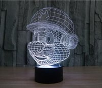 Wholesale Super Mario Toys Accessories - Super Mario 3D Colorful Acrylic Lamp LED Light Touch Switch Visual Illusion Lamp Night Light
