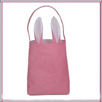 Wholesale Ear Bunny - Pink Easter Bunny Ear Tote Baskets