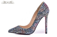 WBP981A Tamanho 34-42 Women's 12cm High Heels Purple Glitter Couro Pointed Toe New Fashion Pumps, Lades Luxury Brand Casamento Casal Casal