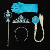 Wholesale Children Dress Gloves - Cartoon Children Day Headdress Crown Wig Wand Gloves Headwear Dress Up Princess Elsa Anna Party Headgear New 10 5cs B R