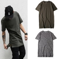 Wholesale Tyga Style Clothes - Top Men Short Sleeve Tyga kanye west Swag Style High Low Hiphop extended T Shirt Men Clothes neck Tee 7 color wholesale retail