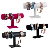 Wholesale Chain Velvet Display - Wholesale 3 Colors PU Leather Bracelet Jewelry Display Stand Holder T-Bar Chain Watch Necklace Rack