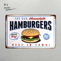 Wholesale Farm Stickers - DL-TIN SIGN Hamburgers Metal Decor Wall Art Farm Store Kitchen shop home wall stickers diner sign