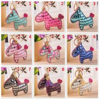Wholesale handmade leather keychains for sale - 100Pcs Fashion Cute Pony Keychain High end Handmade Leather Key Holder Crystal Women s Bag Car Pendants With Spare Crystal and Glue F695