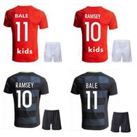 4c7d19f12ef Soccer Unisex Short Wales kids ERUO jersey 2016 BALE home red away black RAMSEY  wales children s