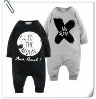Wholesale Girls Sleep Rompers - Fashion Newborn Baby Boy Girl Clothes INS Rompers NO SLEEP Jumpsuit One-pice Romper Long Sleeve Cotton Baby Kids Romper Gray Black Tops 9519