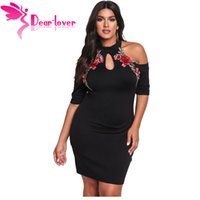 Apreciado Lover Bodycon Dress Plus Size Rose Applique Cold Shoulder Mini vestido negro Mujer grande Ropa Vestidos de gran tamaño LC220129 q1113