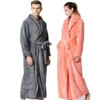 Wholesale quality lounge - New Fashion Luxury Men Women Winter Long Warm Bath Robe Super Soft Flannel Bath Robes Couple Lounge Dressing Gown Top Quality