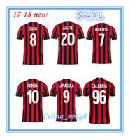Wholesale Honda Ac - 2017 AC Milan jersey 17 18 thai quality SUSO soccer jersey AC Milan home LAPADULA HONDA BONAVENTURA ABATE DEULOFEU LOCATELLI football shirt