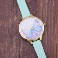 Wholesale Digital Watch Girl Women - Wholesales 100pcs lot 5 Colors Fashion PU Leather Strap Women Watches Casual Quartz Butterfly Watches Digital Watch for Girl Lady Present
