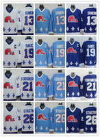 Ice Hockey black polyester cord - Cord NHL Quebec Nordiques Joe Sakic Forsberg Stastny Sundin BROUSSEAU White Drak Light Blue Hockey Jersey Stitched Mix Order