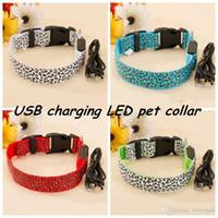 Wholesale Leopard Dog Collars - E02 USB rechagerable Pet Dog Collar LED Nylon _ Leopard design Light-emitting collars Lighted Dog Collars free shipping