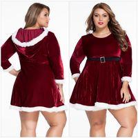 Wholesale Ladies Santa Velvet Dress - 2016 Plus Size Velvet Christmas Party Dresses For Women Santa Claus Dresses Uniform Christmas Costume Chrismas Clothes Ladies Fancy Dresses