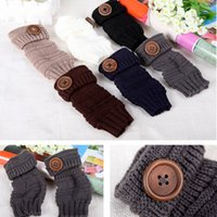 Wholesale c gloves - Multi Colors Button Mittens Half Finger Knitted Gloves Winter Keep Warm Comfortable For Women Gift 5nq C