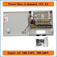 Wholesale Switching Power Supply Box 12v - 6 Port 12V 5A CCTV Camera Power Box 6 channel switching power supply distribution Box for Video surveillance cameras 6 Port AC 100-240V