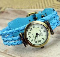 vintage armbanduhr leder mädchen großhandel-Neueste römische Ziffern Girl Weave Seil Uhren Frauen echtes Leder Vintage Watch Weave Retro Vintage Armband Armbanduhren