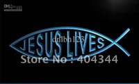 Wholesale Green Led Fishing - LJ008-TM Jesus Christ fish jesus lives Neon Light Sign. Advertising. led panel, Free Shipping, Wholesale