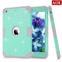 Wholesale Diamond Dust Covers - Diamond For Apple iPad Mini 1 2 3 4 Shockproof Protect Hybrid Hard Rubber Impact Skin Armor Case Cover DHL free