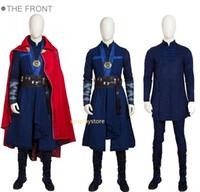 trajes de médico al por mayor-Doctor Strange Costume Dr. Strange Steve Cosplay Traje Hombre Batalla Traje Disfraces de Halloween Para Hombres Por encargo