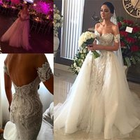 Wholesale Removable Lace Wedding Dress - 2018 Sexy Wedding Dresses with Removable Tulle Overskirt Mermaid Lace Applique Sweetheart Neck Backless Court Train Bridal Gowns