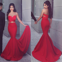 Wholesale Top Quality Satin Mermaid - 2016 Sexy Mermaid Prom Dress Sweetheart Neck Ruched Top Cut Out Design Red Evening Party Gowns with Sweep Train Cheap High Quality