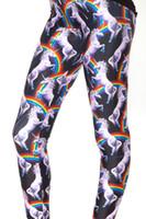 perneiras de cavalo venda por atacado-S-4XL Impressão Digital Sexy Slim Leggings Para As Mulheres 2016 Nova Moda Cavalo Arco Íris Impresso Plus Size Esporte Calças Skinny