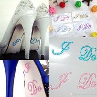 "Wholesale Chunky Low Heel Shoes - 1 Pair Silver Crystal Wedding Shoe Stickers ""I DO & ME TOO"" Bridal Accessories Sandal Sole Stickers Clear Rhinestones Decoration"