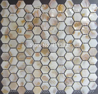 Wholesale Hexagon tile pearl mother of pearl tile hexagon seam on mesh MM kitchen backsplash and bathroom shower mosaic wall tile
